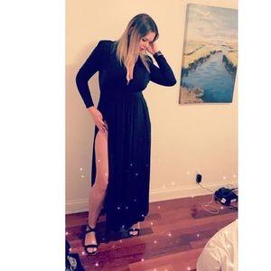 Fashion Nova black open slit dress